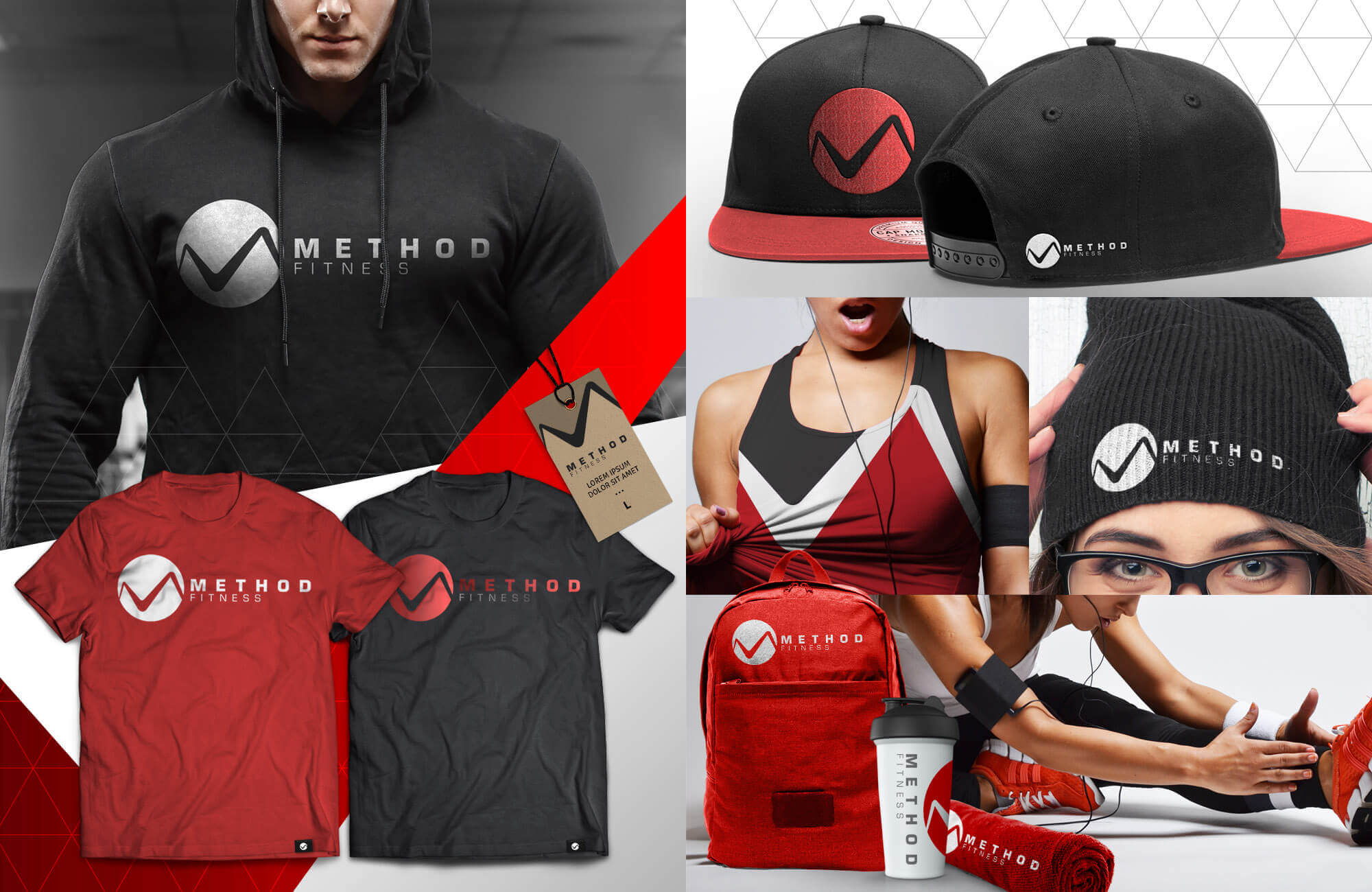 Red Collage of Swag Pack with backpack, workout shirts, hoodies, hats, mugs, etc.