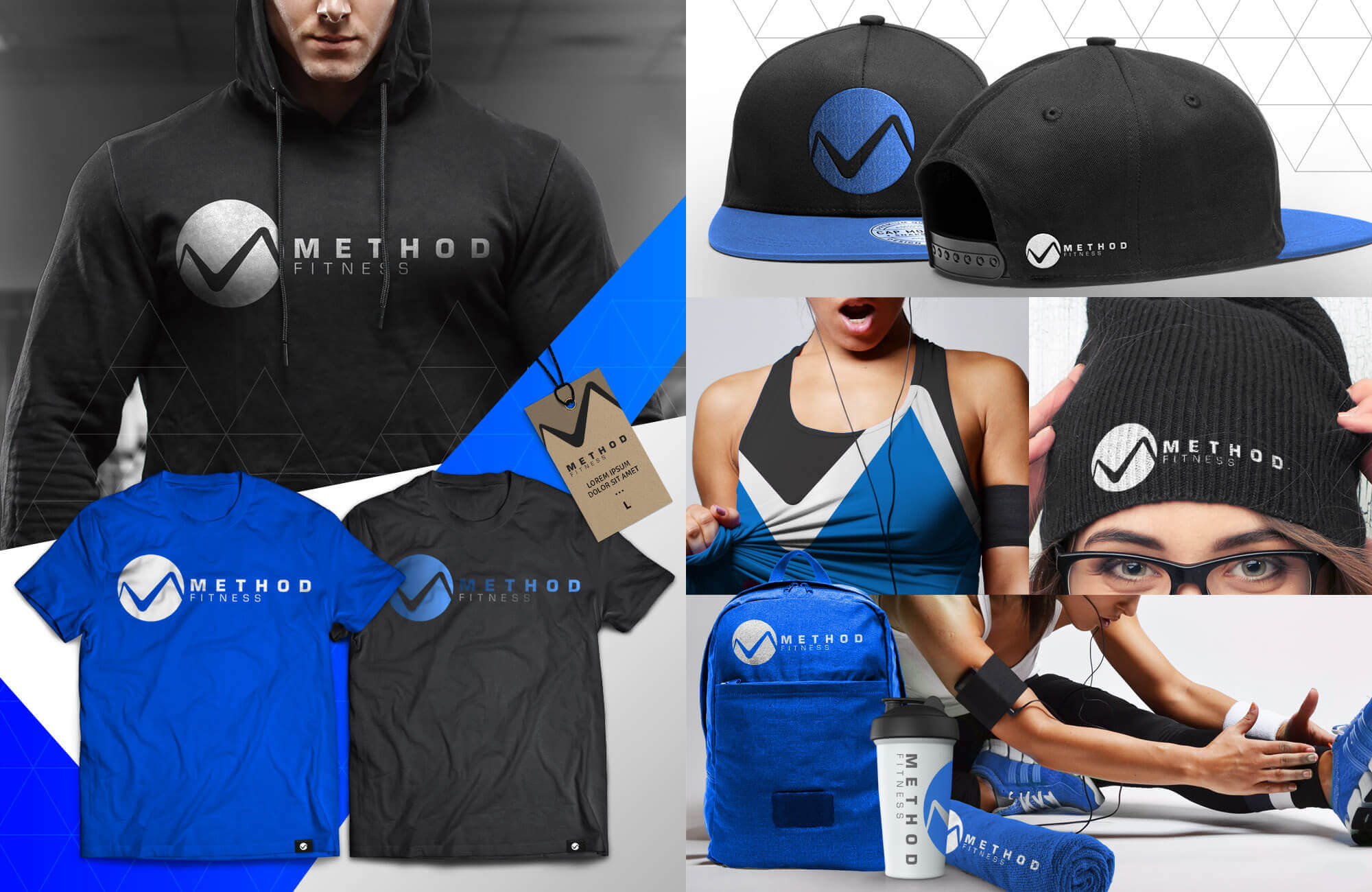 Blue Collage of Swag Pack with beanie, towels, shirts, hats, hoodies, etc.