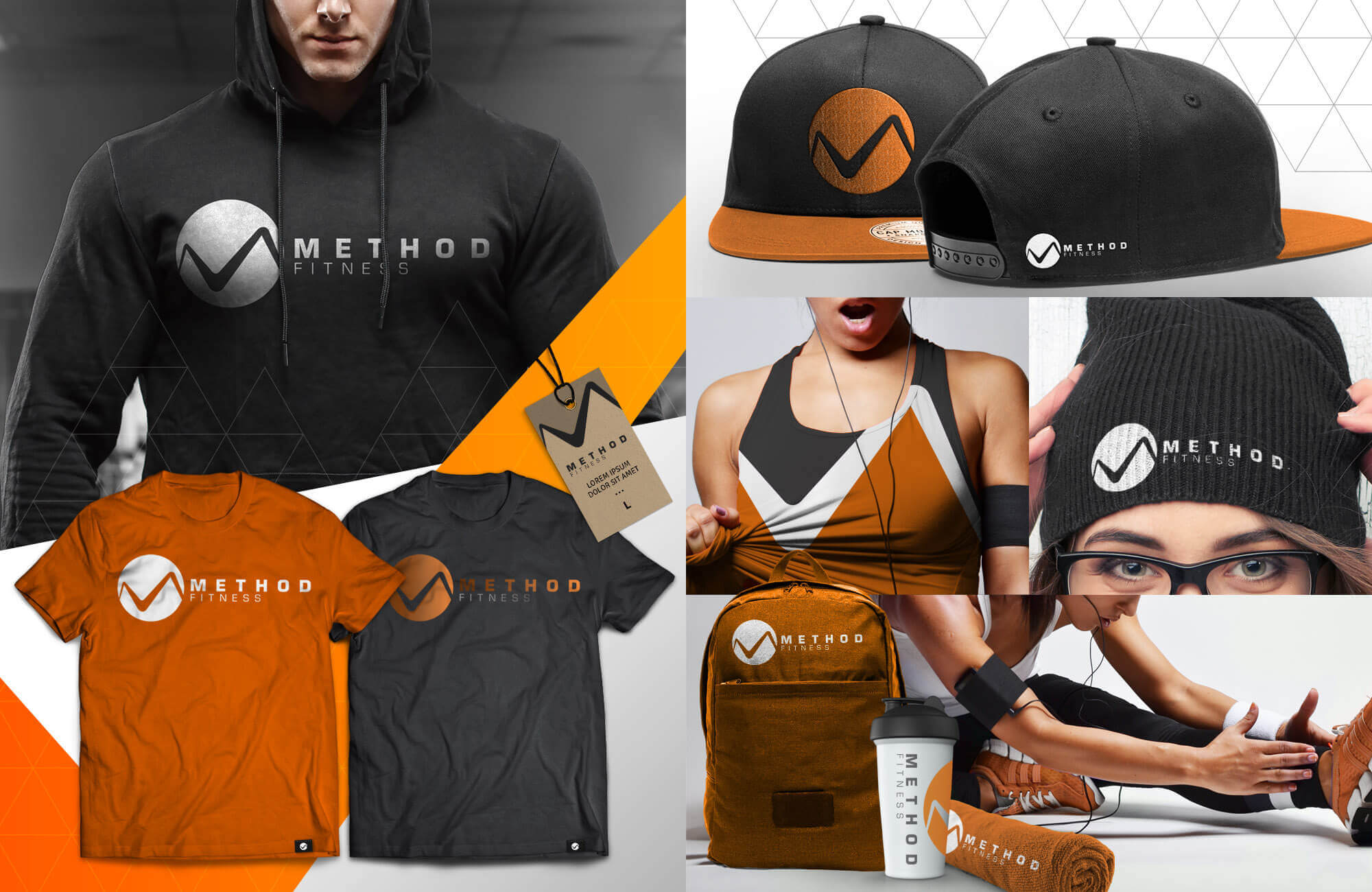 Orange Collage of Swag Pack with hoodie, beanie, backpacks, mugs, hats, etc.
