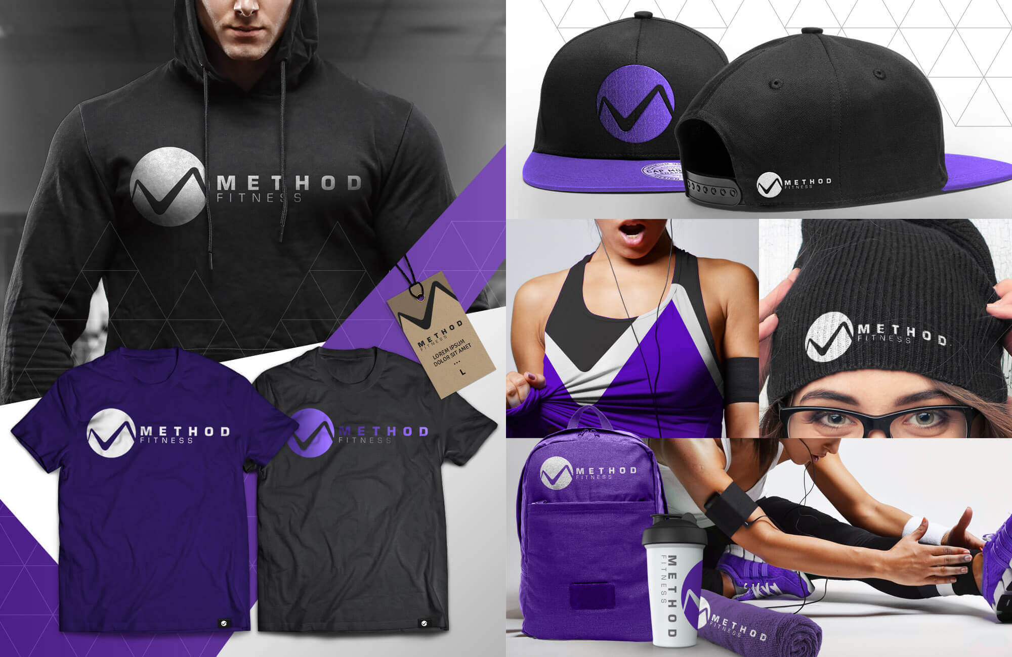 Purple Collage of Swag Pack with shirts, towels, hoodies, hats, backpacks, etc.