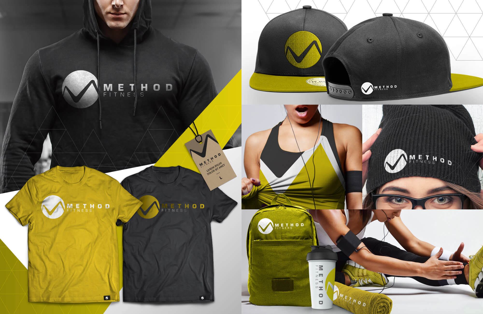 Yellow Collage of Swag Pack with towels, hoodies, backpacks, workout shirts, beanies, etc.
