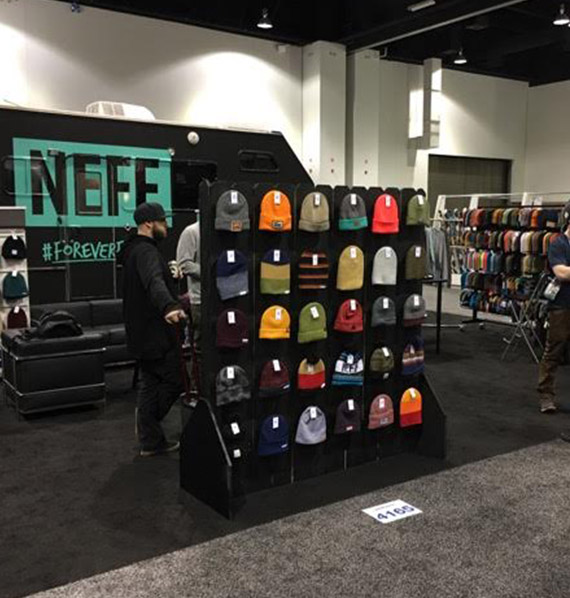 Store Product Display showing an assortment of beanies