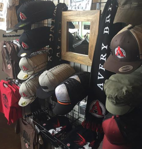 Display with Hats surrounding a Mirror