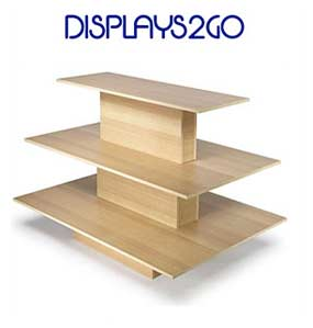 3-tier product shelf, light wood