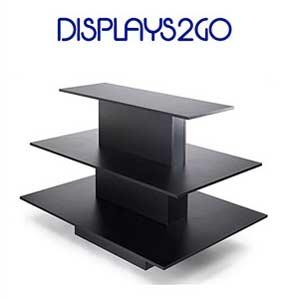 3-tier product shelf, dark wood