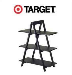 3-tier step-ladder shelf, dark wood