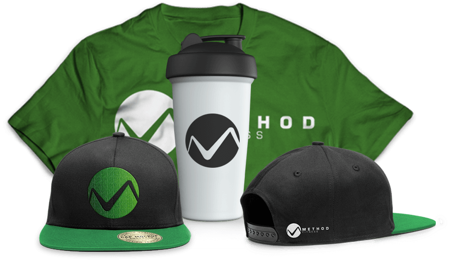 Green Swag Pack with shirt, front view of hat with logo, mug, side view of hat with logo