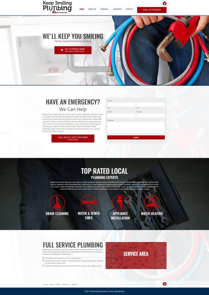 plumber marketing website design template