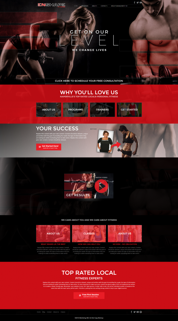 fitness personal trainer website design
