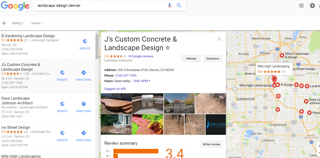 google landscaping reviews