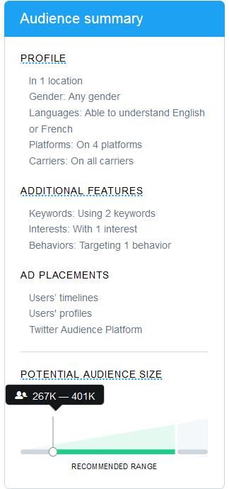 twitter audience summary