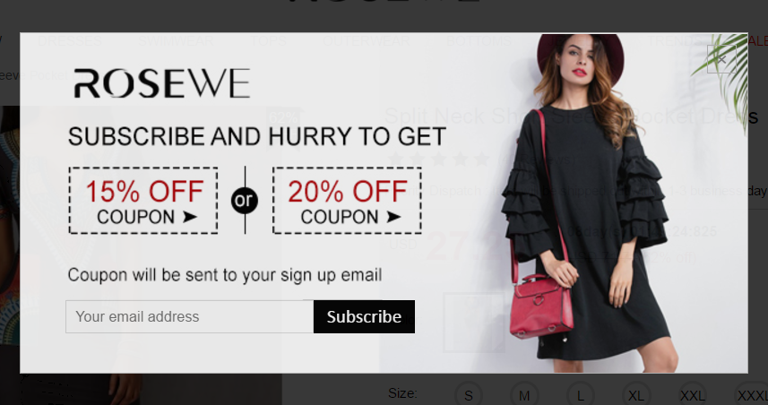 email pop-up