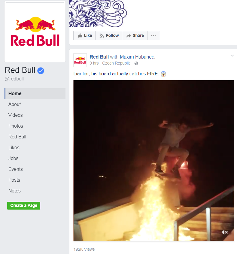 red bull likes facebook