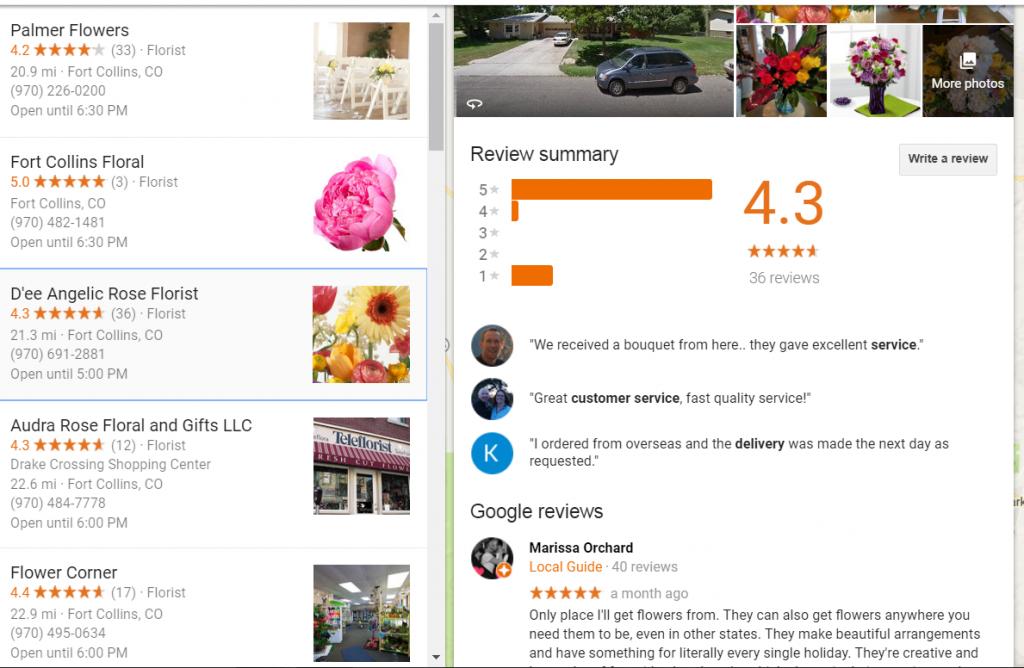 florist google places