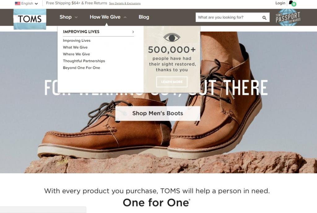 social purpose marketing toms