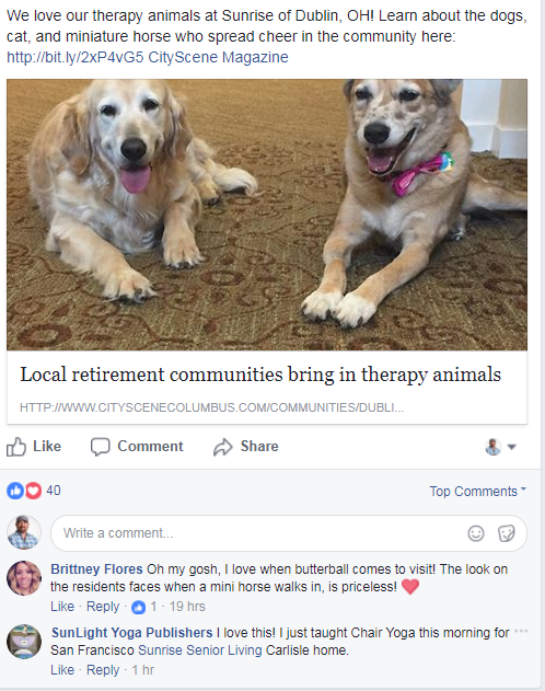 assisted living center facebook post