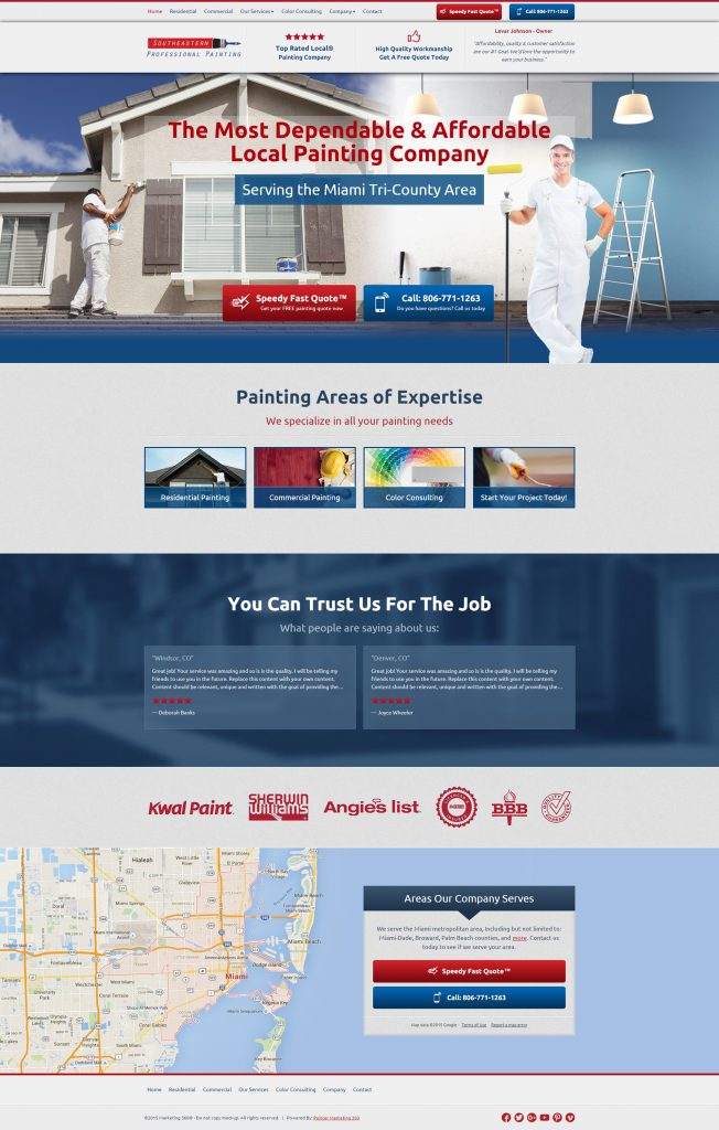 painter lead generation website design