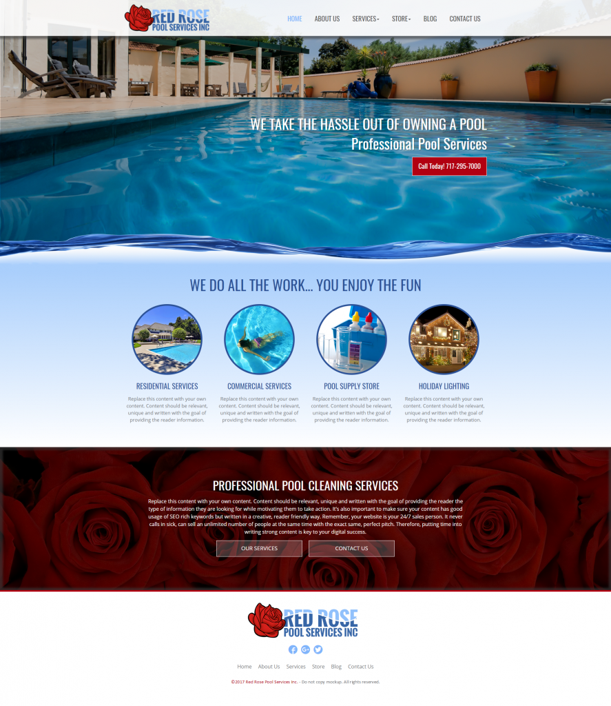 pool service website design template