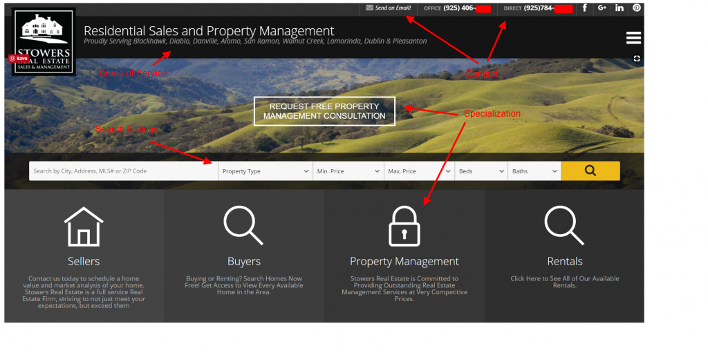 real estate agent homepage above the fold