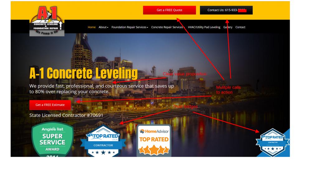contractor marketing homepage