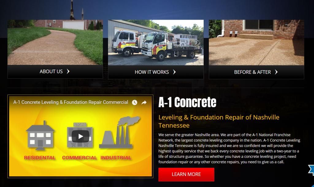 contractor marketing homepage below fold