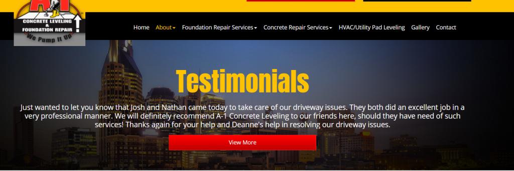 contractor website testimonials