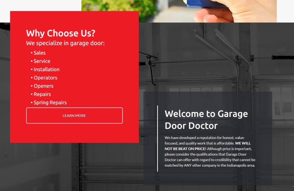 garage door website below fold