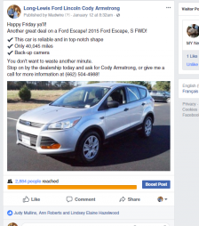 car sales on facebook 2020