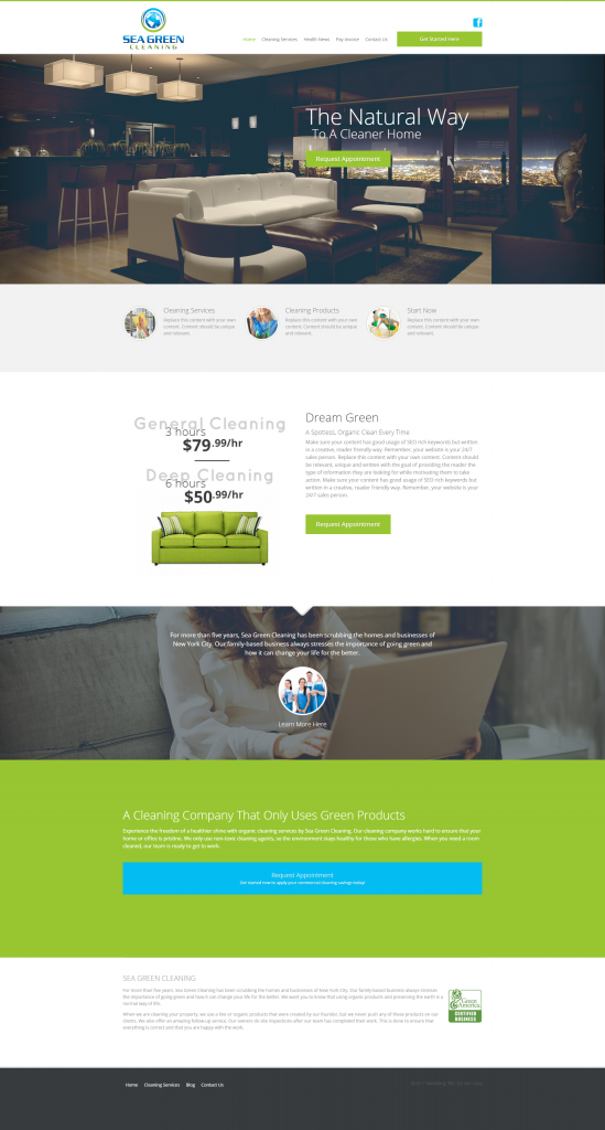 cleaning service marketing website template