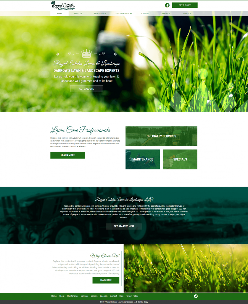 lawn care marketing website design
