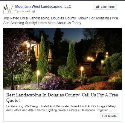sta facebook ad landscaping