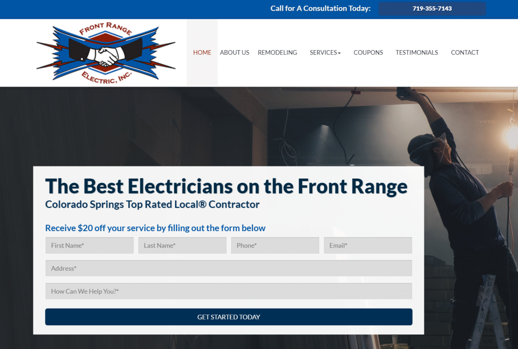 electrician lead generation website design