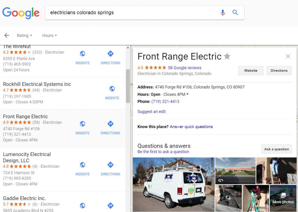 electrician google reviews