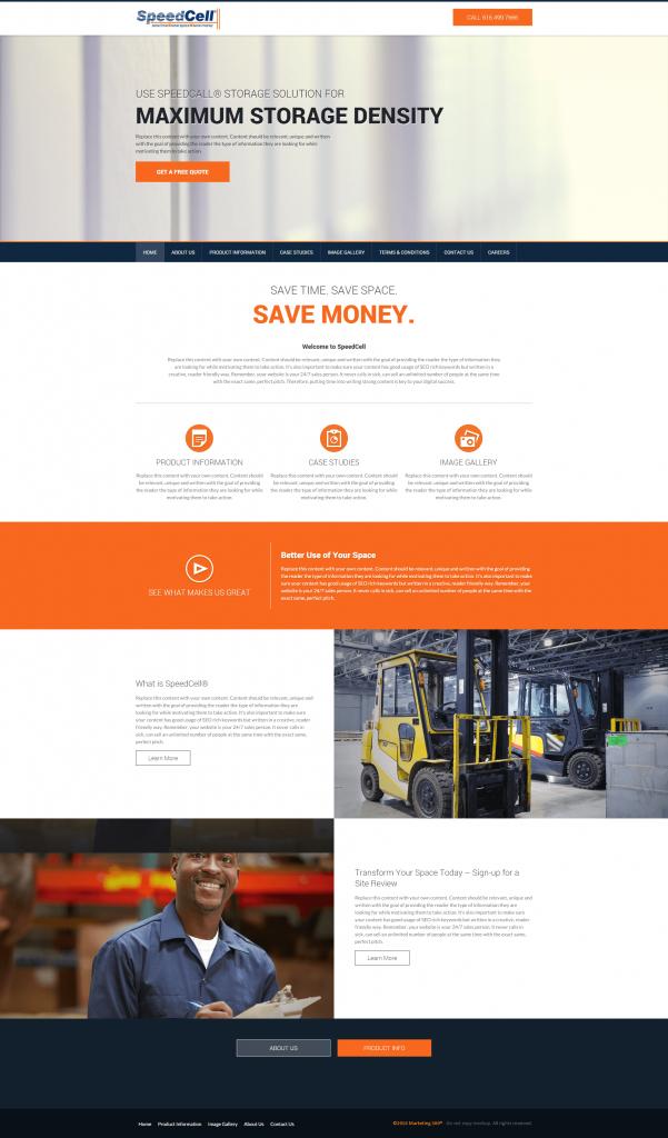 storage center website design