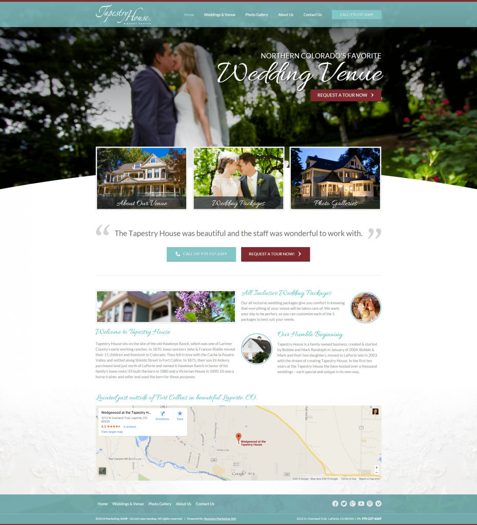 wedding event venue marketing website design