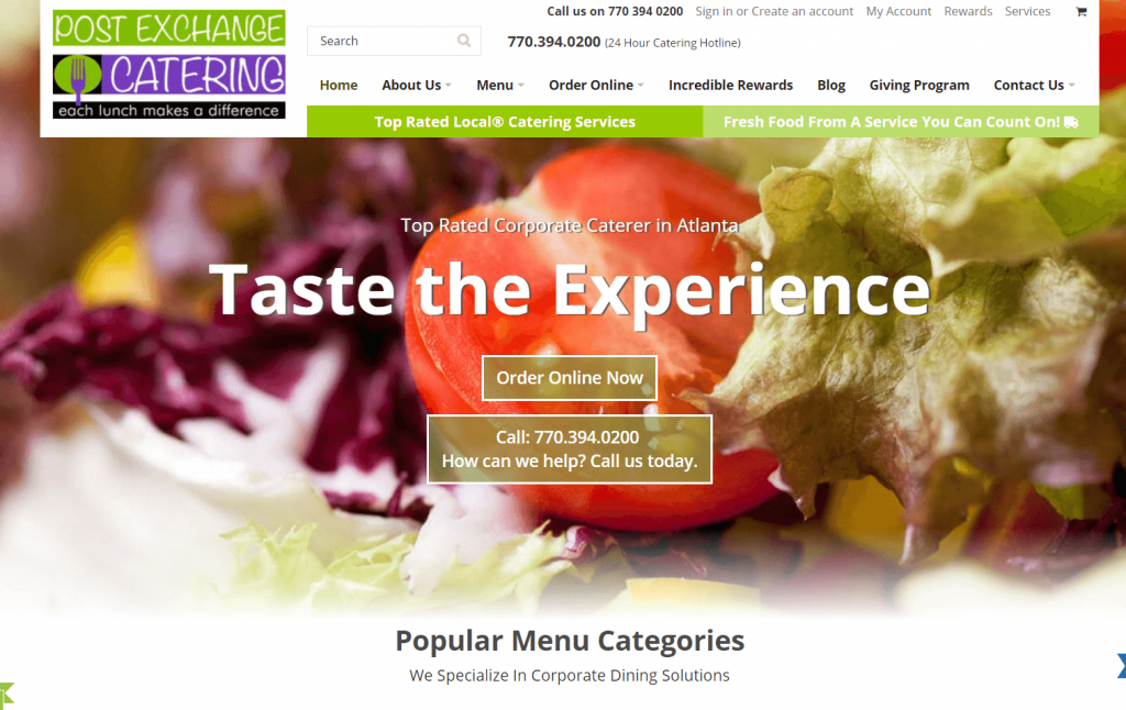 catering marketing case study homepage design