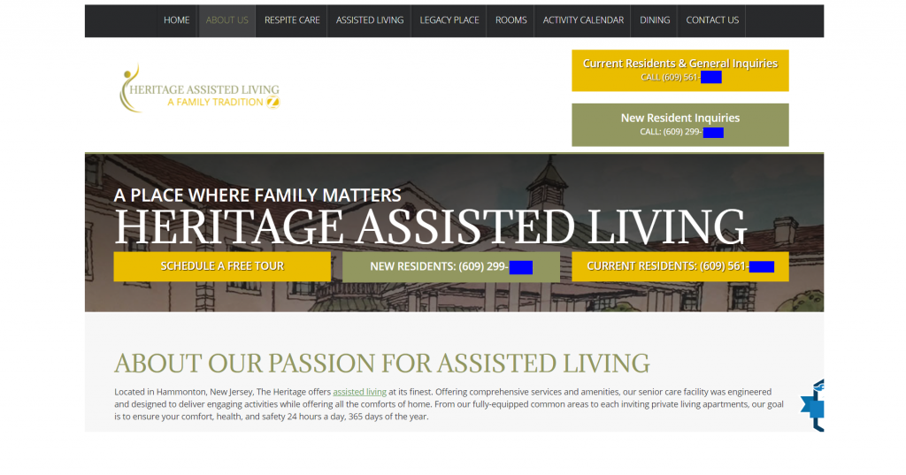 assisted living center website call to action