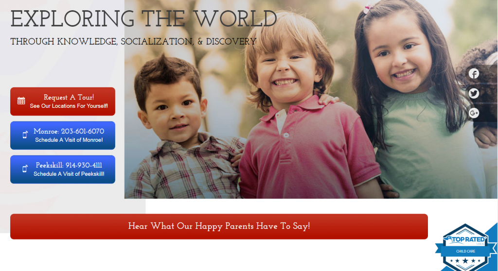 child care case study homepage design