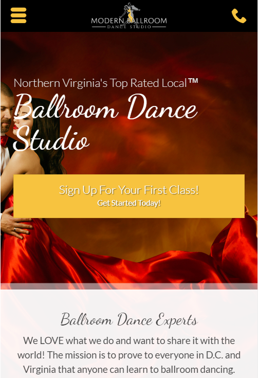 dance school case study mobile design
