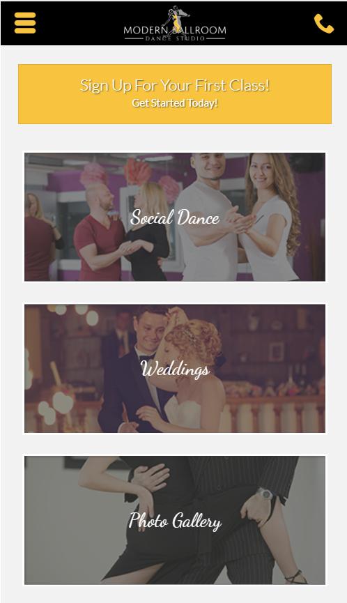 dance school homepage navigation mobile