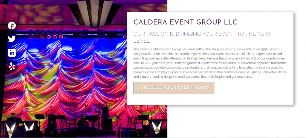 event planner case study homepage category