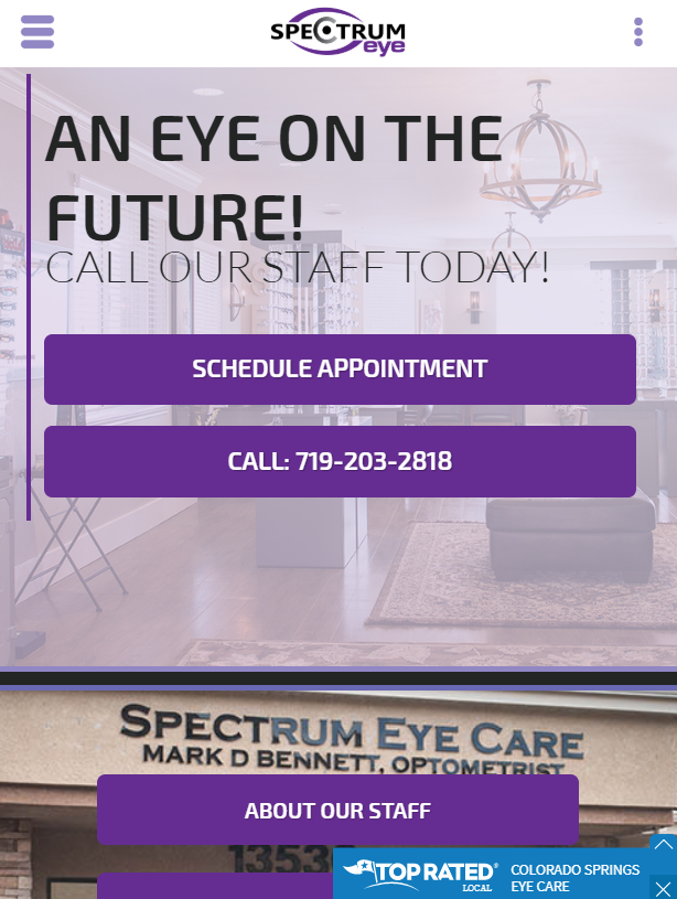 eye doctor mobile website design