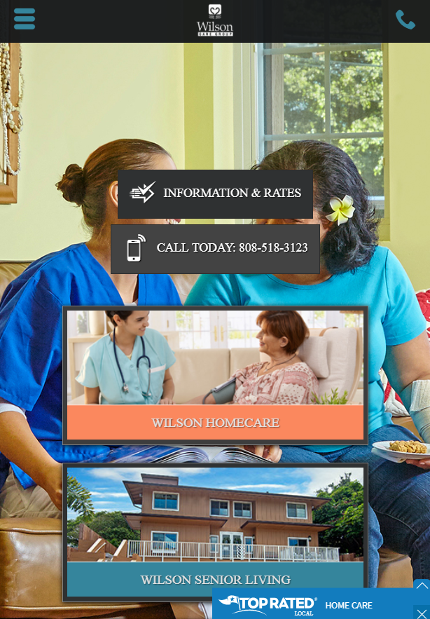home health care website design mobile