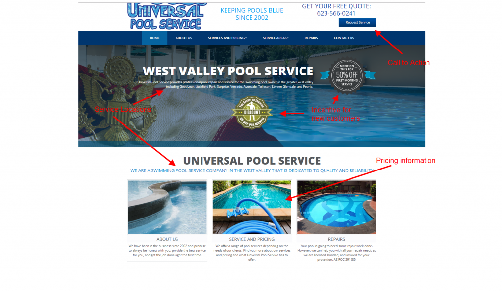 pool service marketing case study website design
