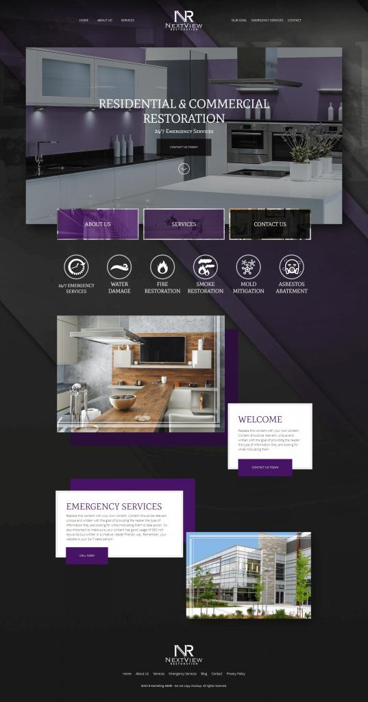 restoration company website design example