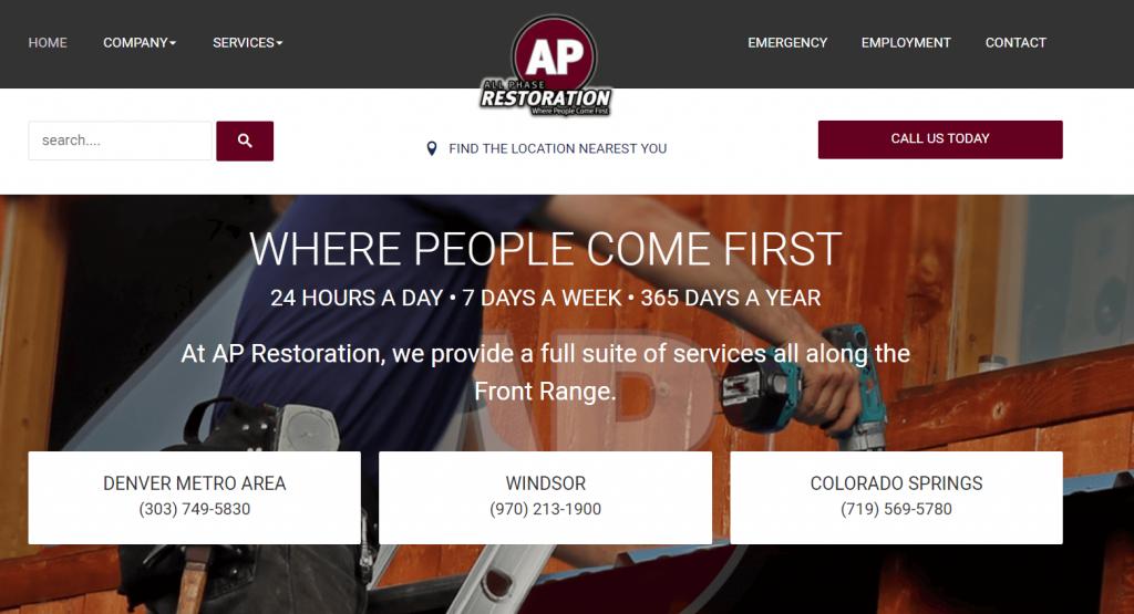 restoration marketing website with locations