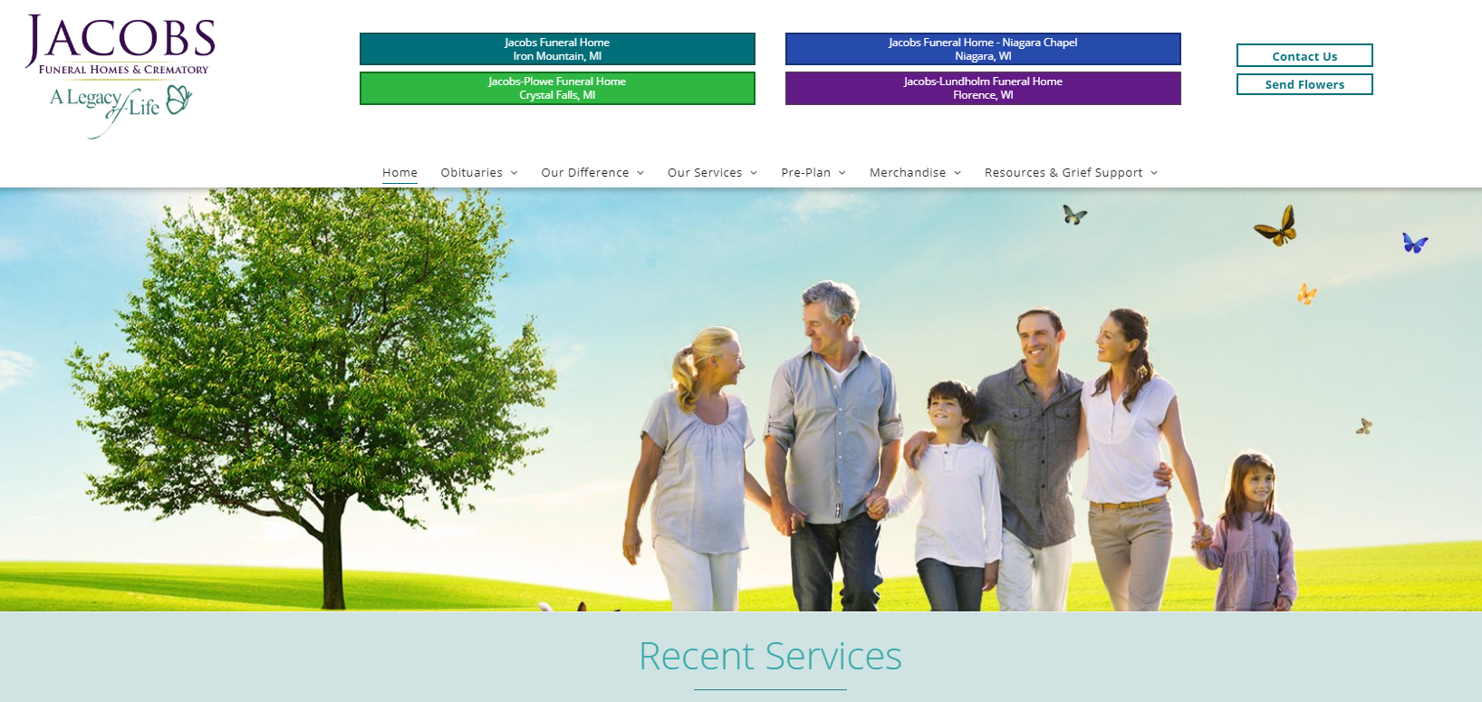 funeral home website redesign