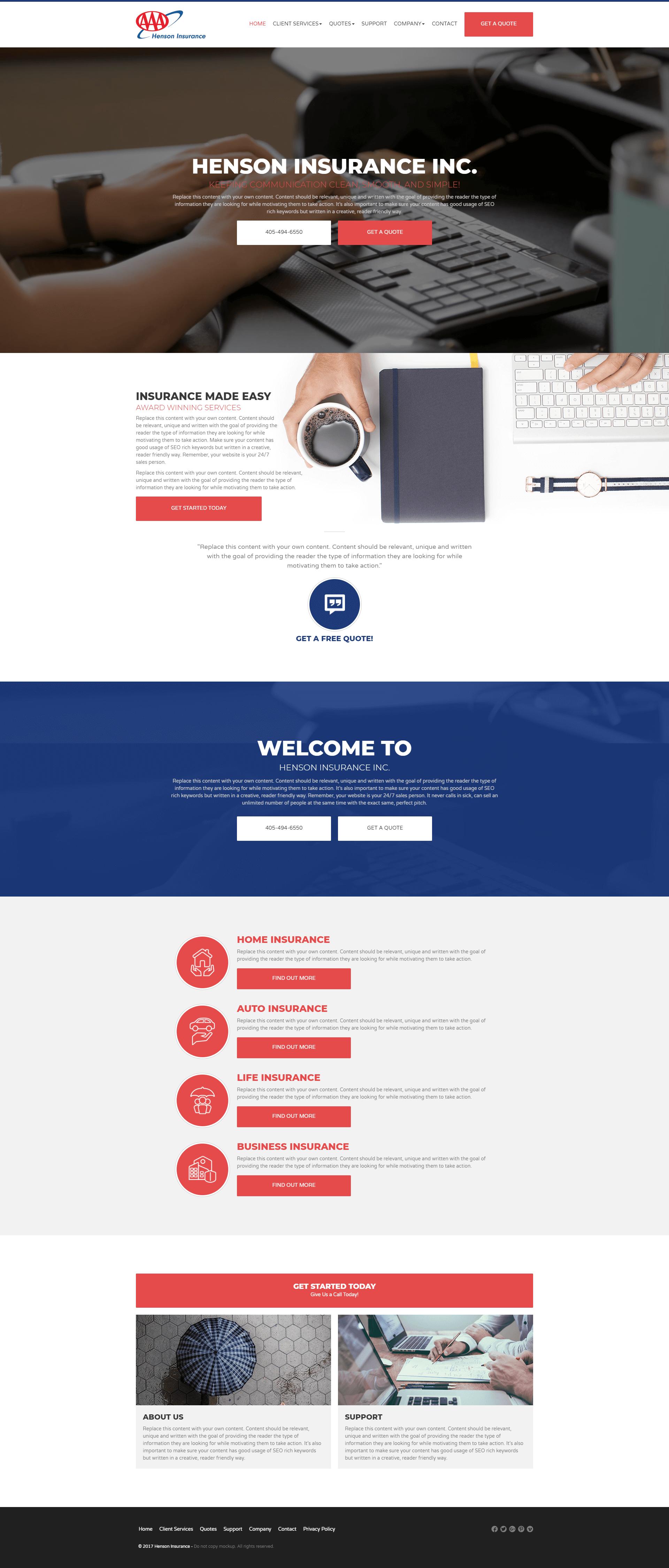 insurance marketing website design
