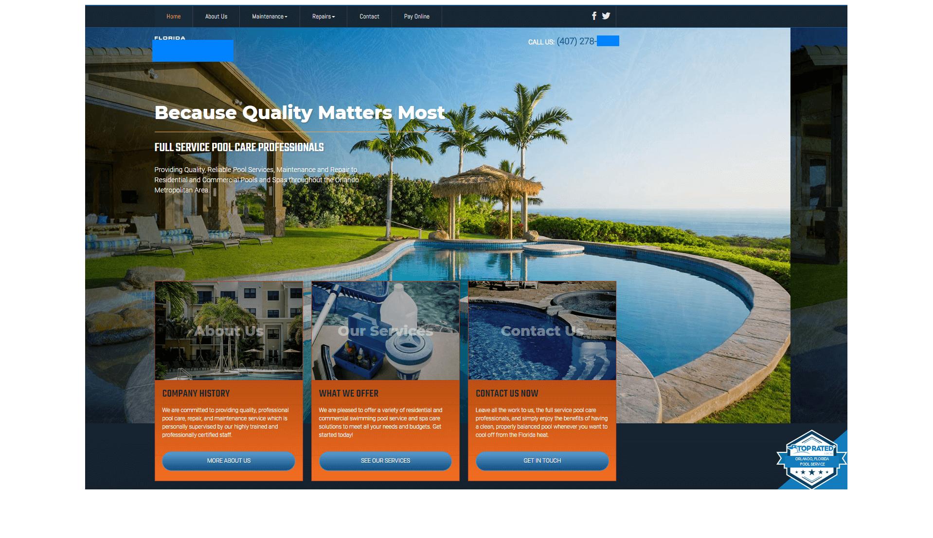 pool service case study homepage design