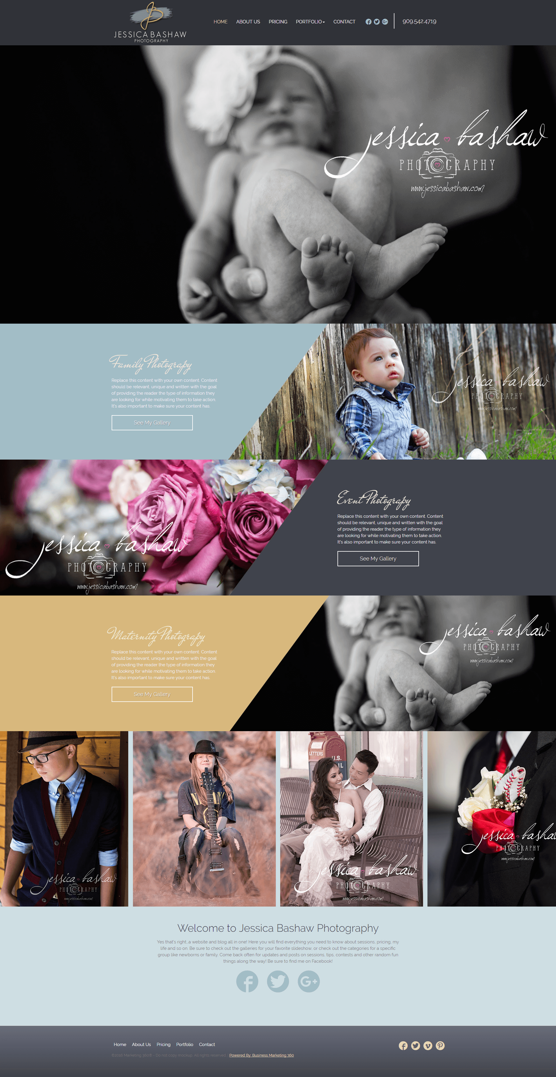 photography marketing website template